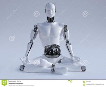 Robotmanmeditatingnrmalesittingfloo